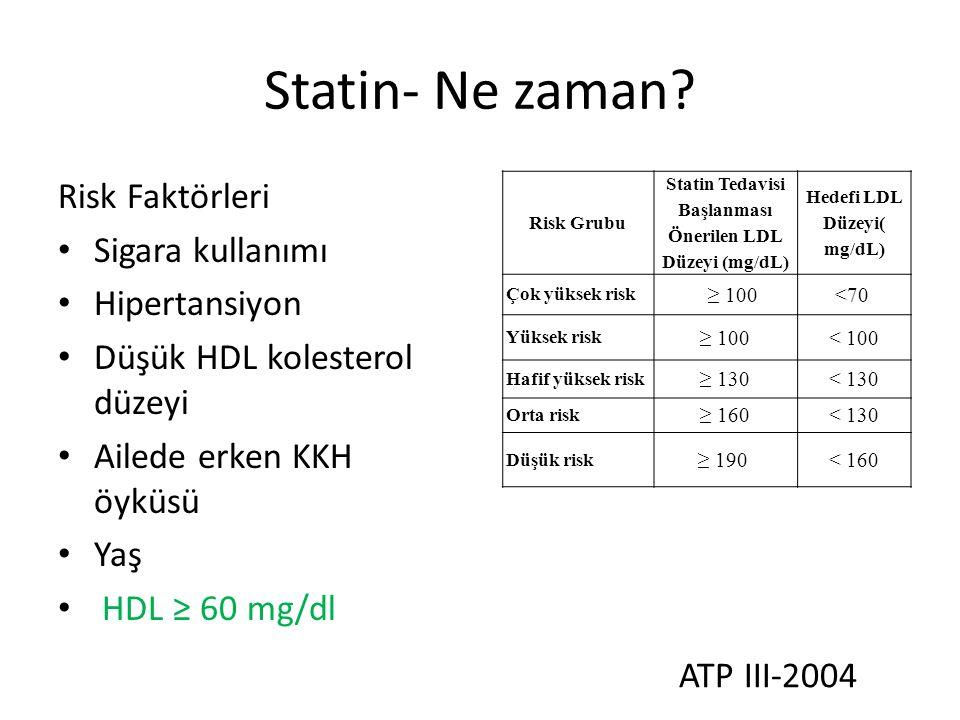 SUT-Statinler MADDE 16 - 6.2.28.A- Statinler – LDL düzeyinin 190 mg/dL'nin üstünde – LDL düzeyinin 160 mg/dL'nin üstünde; iki ek risk faktörü – LDL düzeyinin 130 mg/dL'nin üstünde; üç ek risk faktörü – LDL düzeyinin 100 mg/dL'nin üstünde olduğu durumlarda; Diabetes mellitus, Akut koroner sendrom, Geçirilmiş MI, Geçirilmiş inme, Koroner arter hastalığı, Periferik arter hastalığı, Abdominal aort anevrizması Karotid arter hastalığı olanlarda.