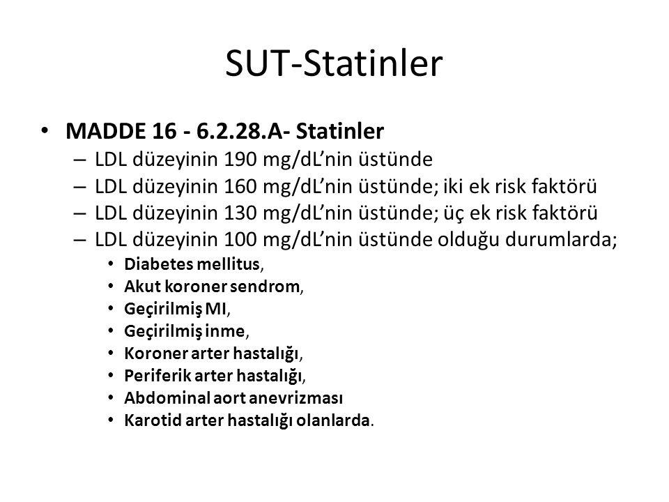 Statin Etkinliği %25-32%31-39%37-45%48-52%55-60%60-63 Atorvastatin -10 mg20 mg30 mg40 mg- Rosuvastatin --5 mg10 mg20 mg40 mg Simvastatin 10 mg20 mg40 mg80 mg-- Fluvastatin 40 mg80 mg---- Pravostatin 20 mg40 mg80 mg--- Lovostatin 20 mg40 mg80 mg---