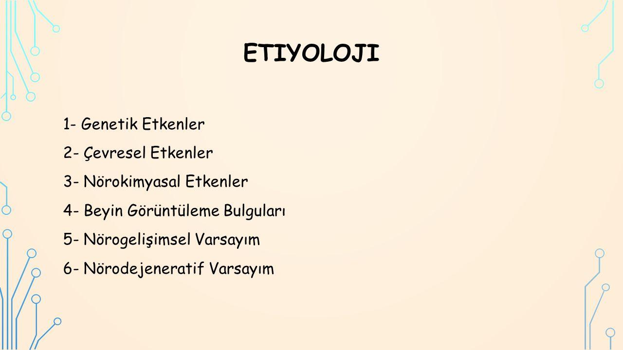 ETIYOLOJI 1- Genetik Etkenler 2- Çevresel Etkenler 3- Nörokimyasal Etkenler 4- Beyin Görüntüleme Bulguları 5- Nörogelişimsel Varsayım 6- Nörodejeneratif Varsayım
