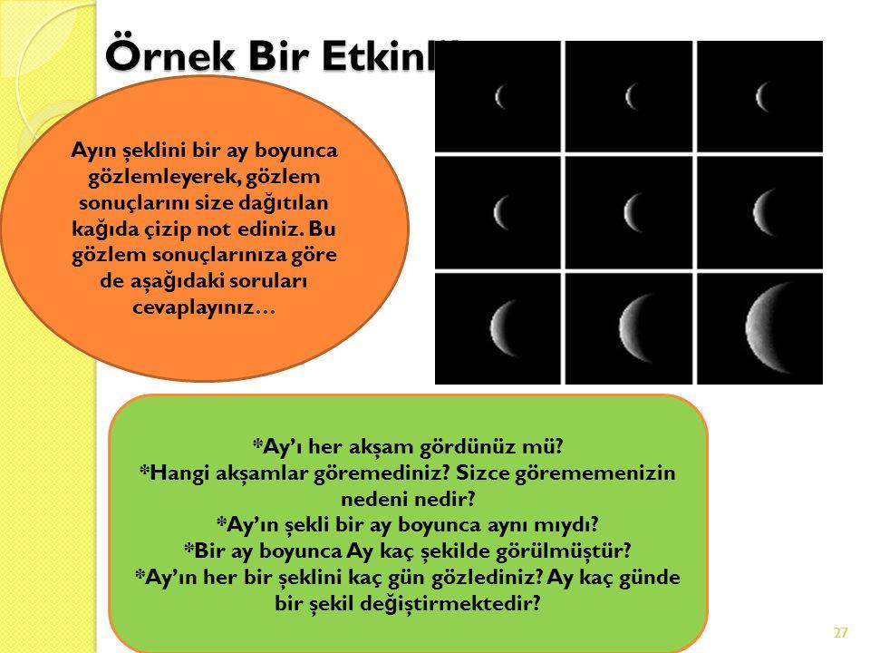 27 Örnek Bir Etkinlik 18.06.201627 Ayın şeklini bir ay boyunca gözlemleyerek, gözlem sonuçlarını size da ğ ıtılan ka ğ ıda çizip not ediniz.
