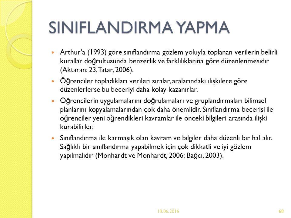 68 SINIFLANDIRMA YAPMA Arthur'a (1993) göre sınıflandırma gözlem yoluyla toplanan verilerin belirli kurallar do ğ rultusunda benzerlik ve farklılıklarına göre düzenlenmesidir (Aktaran: 23, Tatar, 2006).