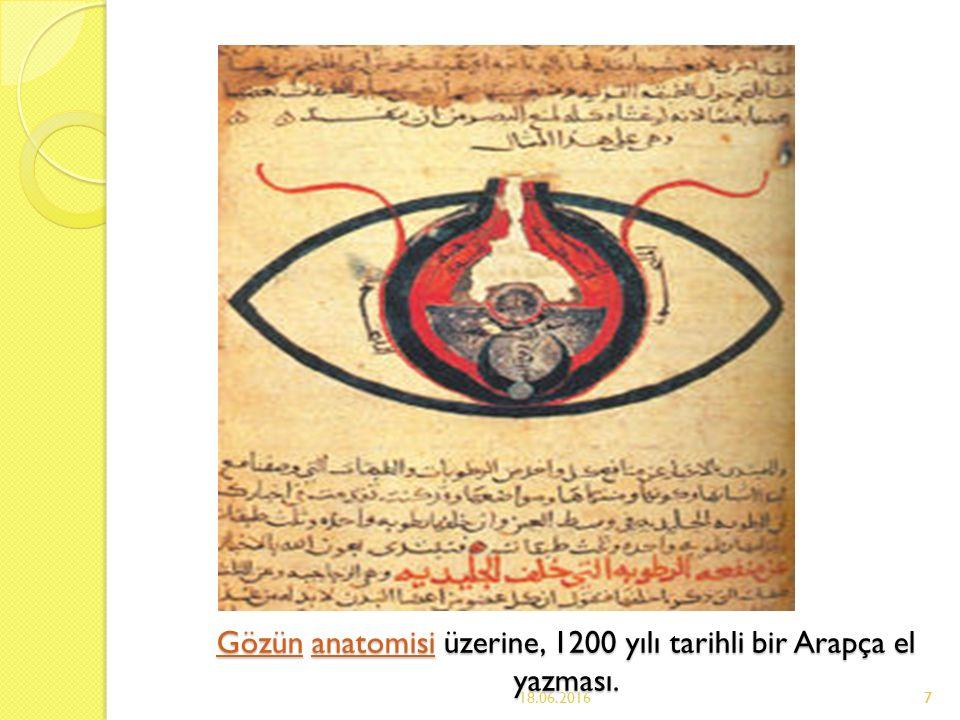7 GözünGözün anatomisi üzerine, 1200 yılı tarihli bir Arapça el yazması.