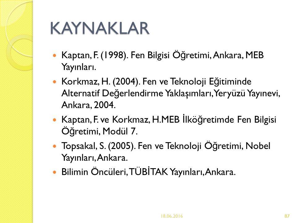 87 KAYNAKLAR Kaptan, F. (1998). Fen Bilgisi Ö ğ retimi, Ankara, MEB Yayınları.