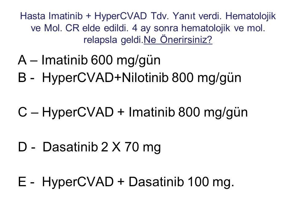 Hasta Imatinib + HyperCVAD Tdv. Yanıt verdi. Hematolojik ve Mol. CR elde edildi. 4 ay sonra hematolojik ve mol. relapsla geldi.Ne Önerirsiniz? A – Ima