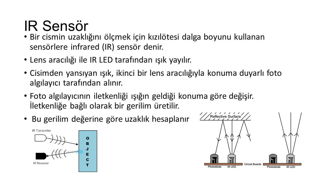 IR Sensör Bir cismin uzaklığını ölçmek için kızılötesi dalga boyunu kullanan sensörlere infrared (IR) sensör denir. Lens aracılığı ile IR LED tarafınd