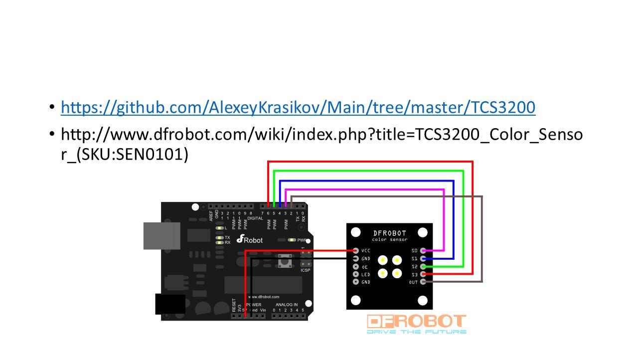 https://github.com/AlexeyKrasikov/Main/tree/master/TCS3200 http://www.dfrobot.com/wiki/index.php?title=TCS3200_Color_Senso r_(SKU:SEN0101)