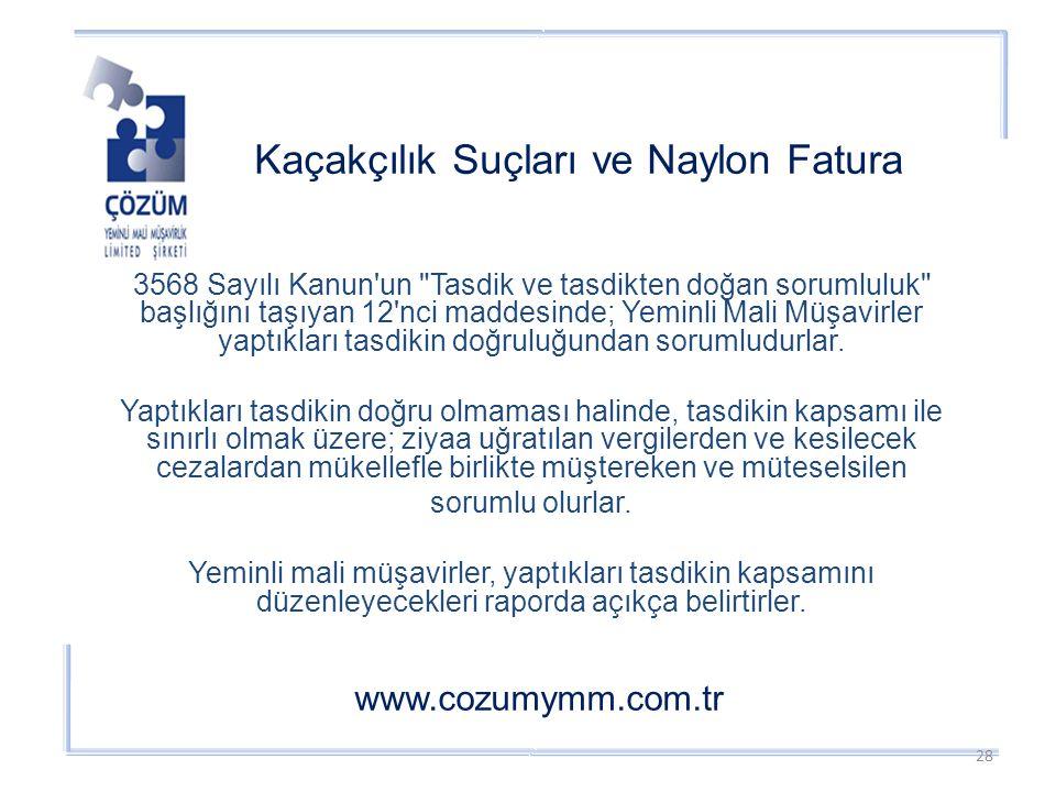 Kaçakçılık Suçları ve Naylon Fatura www.cozumymm.com.tr 3568 Sayılı Kanun un Tasdik ve tasdikten doğan sorumluluk başlığını taşıyan 12 nci maddesinde; Yeminli Mali Müşavirler yaptıkları tasdikin doğruluğundan sorumludurlar.