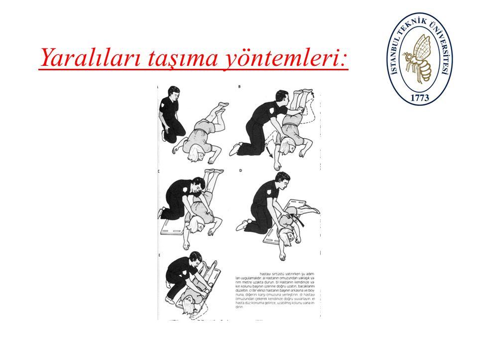 Yaralıları taşıma yöntemleri: A-Bir kişi ile taşıma: – 1-Geri geri taşıma – 2-İtfaiyeci yöntemi – 3-Sürünme yöntemi – 4-Sırtta taşıma – 5-Destek olma