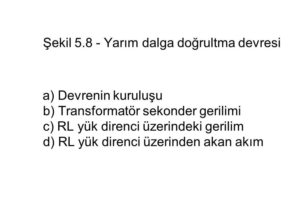 Şekil 5.8 - Yarım dalga doğrultma devresi a) Devrenin kuruluşu b) Transformatör sekonder gerilimi c) RL yük direnci üzerindeki gerilim d) RL yük diren