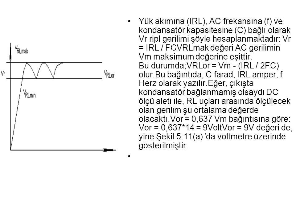 Yük akımına (IRL), AC frekansına (f) ve kondansatör kapasitesine (C) bağlı olarak Vr ripl gerilimi şöyle hesaplanmaktadır: Vr = IRL / FCVRLmak değeri