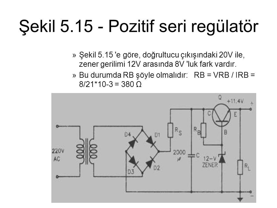 Şekil 5.15 - Pozitif seri regülatör »Şekil 5.15 'e göre, doğrultucu çıkışındaki 20V ile, zener gerilimi 12V arasında 8V 'luk fark vardır. »Bu durumda