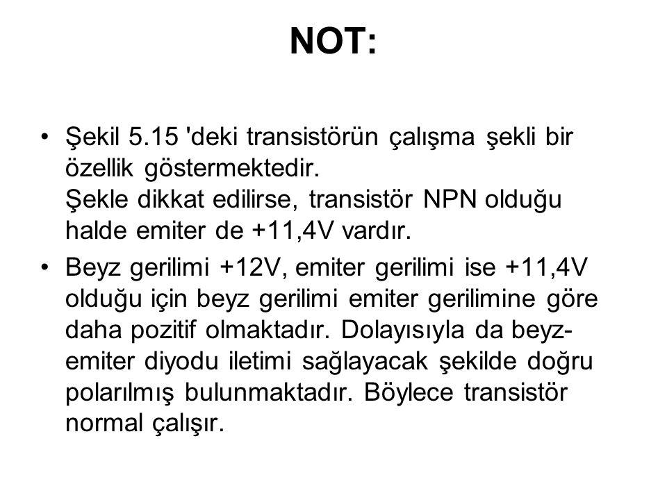NOT: Şekil 5.15 'deki transistörün çalışma şekli bir özellik göstermektedir. Şekle dikkat edilirse, transistör NPN olduğu halde emiter de +11,4V vardı