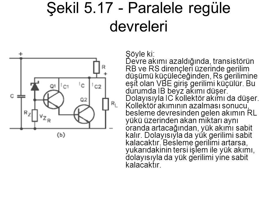 Şekil 5.17 - Paralele regüle devreleri Şöyle ki: Devre akımı azaldığında, transistörün RB ve RS dirençleri üzerinde gerilim düşümü küçüleceğinden, Rs
