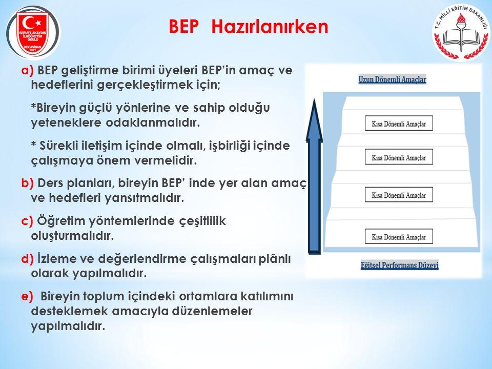 BEP Hazırlanırken a) BEP geliştirme birimi üyeleri BEP'in amaç ve hedeflerini gerçekleştirmek için; *Bireyin güçlü yönlerine ve sahip olduğu yetenekle