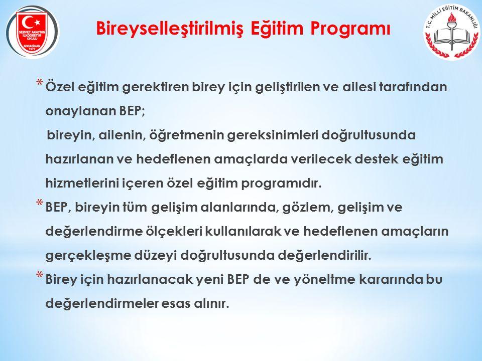 Bireyselleştirilmiş Eğitim Programı * Özel eğitim gerektiren birey için geliştirilen ve ailesi tarafından onaylanan BEP; bireyin, ailenin, öğretmenin
