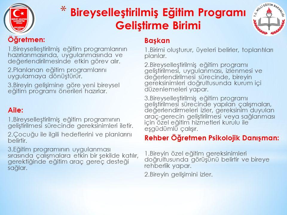 * Bireyselleştirilmiş Eğitim Programı Geliştirme Birimi Öğretmen: 1.Bireyselleştirilmiş eğitim programlarının hazırlanmasında, uygulanmasında ve değer