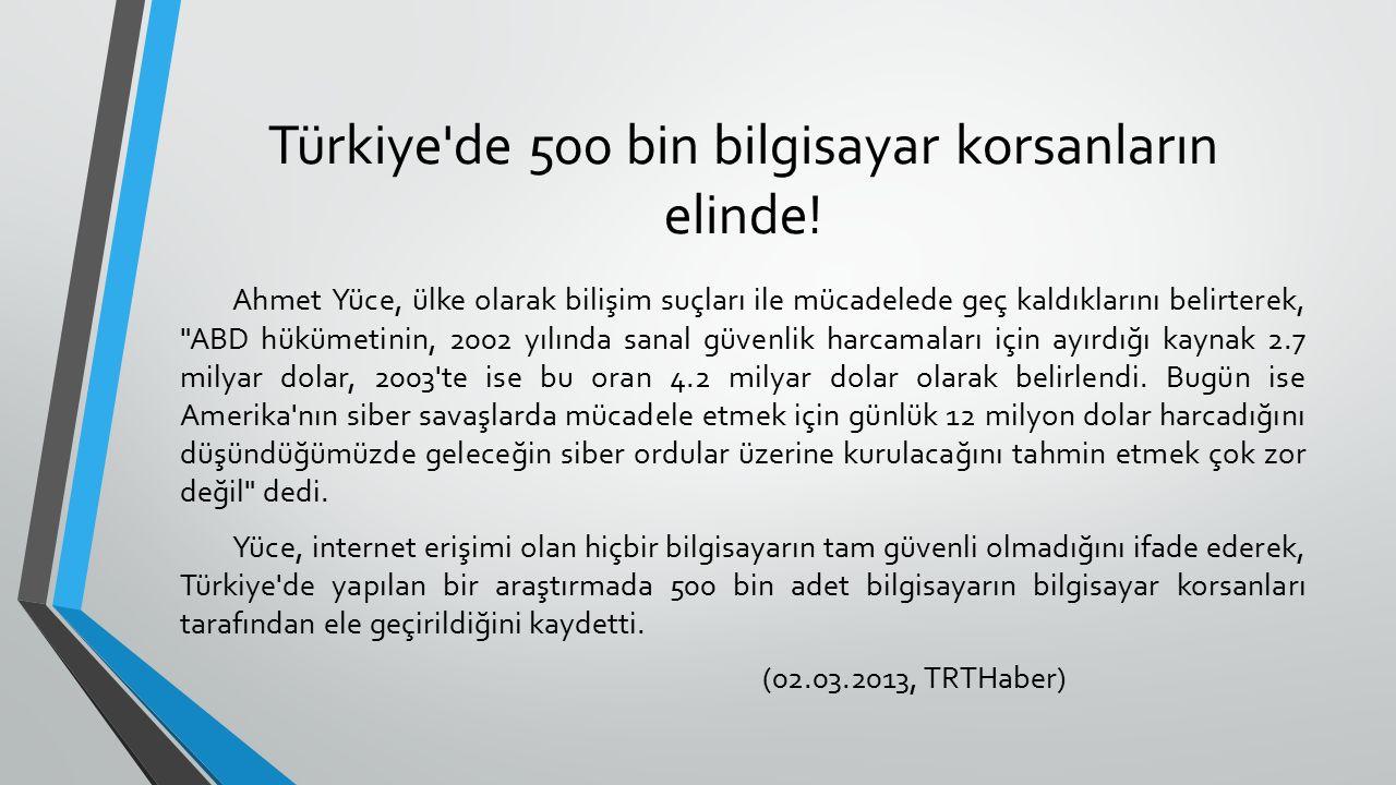 Türkiye de 500 bin bilgisayar korsanların elinde.
