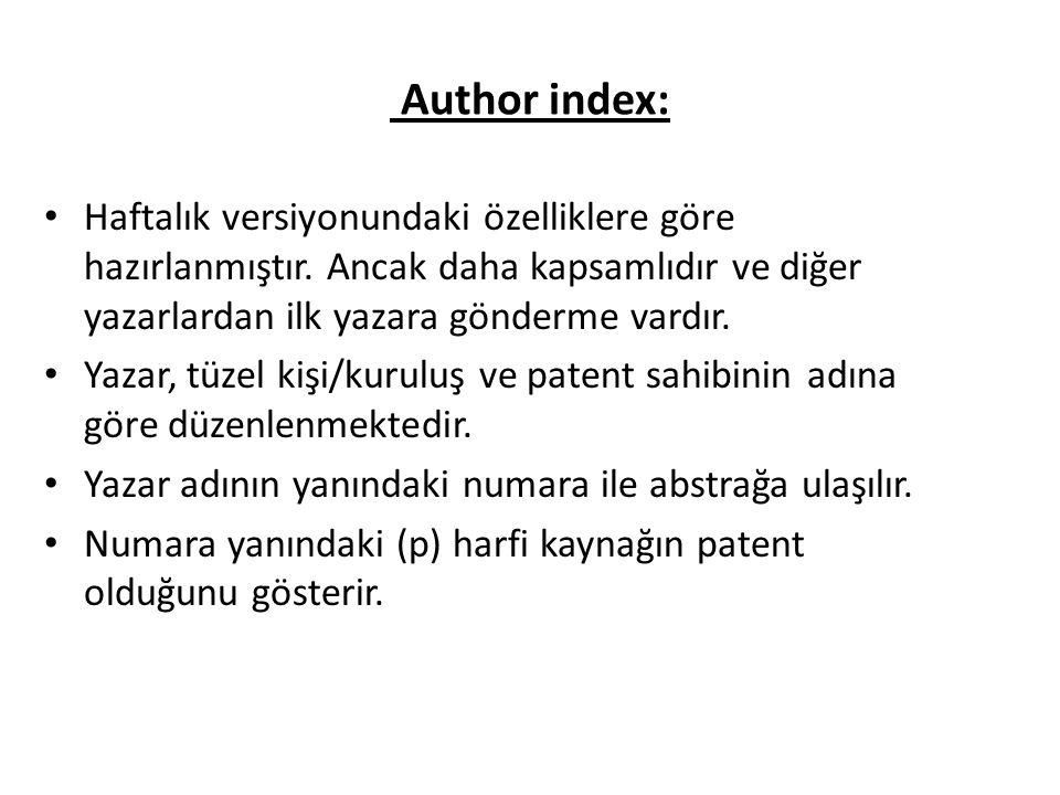 Author index: Haftalık versiyonundaki özelliklere göre hazırlanmıştır.
