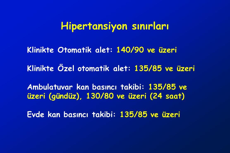 Hipertansiyon sınırları Klinikte Otomatik alet: 140/90 ve üzeri Klinikte Özel otomatik alet: 135/85 ve üzeri Ambulatuvar kan basıncı takibi: 135/85 ve