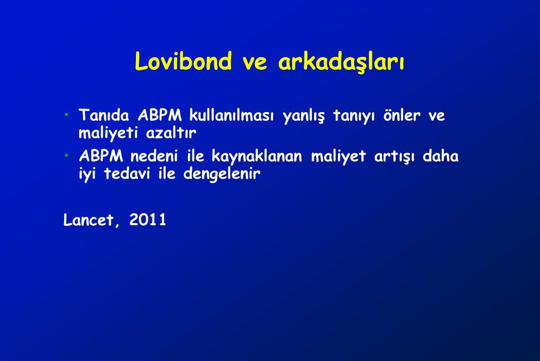 Lovibond ve arkadaşları Tanıda ABPM kullanılması yanlış tanıyı önler ve maliyeti azaltır ABPM nedeni ile kaynaklanan maliyet artışı daha iyi tedavi il
