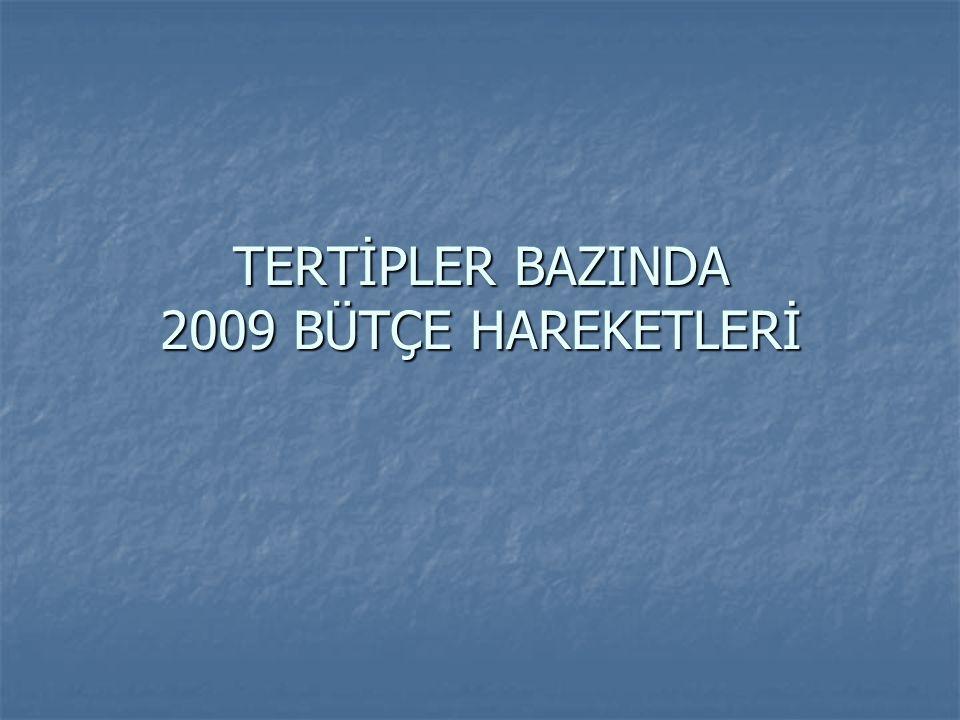 TERTİPLER BAZINDA 2009 BÜTÇE HAREKETLERİ