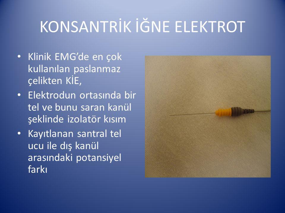 KONSANTRİK İĞNE ELEKTROT Klinik EMG'de en çok kullanılan paslanmaz çelikten KİE, Elektrodun ortasında bir tel ve bunu saran kanül şeklinde izolatör kı
