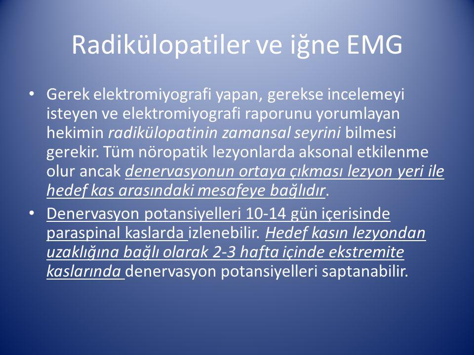 Radikülopatiler ve iğne EMG Gerek elektromiyografi yapan, gerekse incelemeyi isteyen ve elektromiyografi raporunu yorumlayan hekimin radikülopatinin z