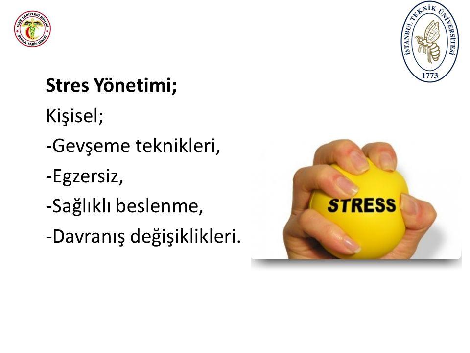 Stres Yönetimi; Kişisel; -Gevşeme teknikleri, -Egzersiz, -Sağlıklı beslenme, -Davranış değişiklikleri.