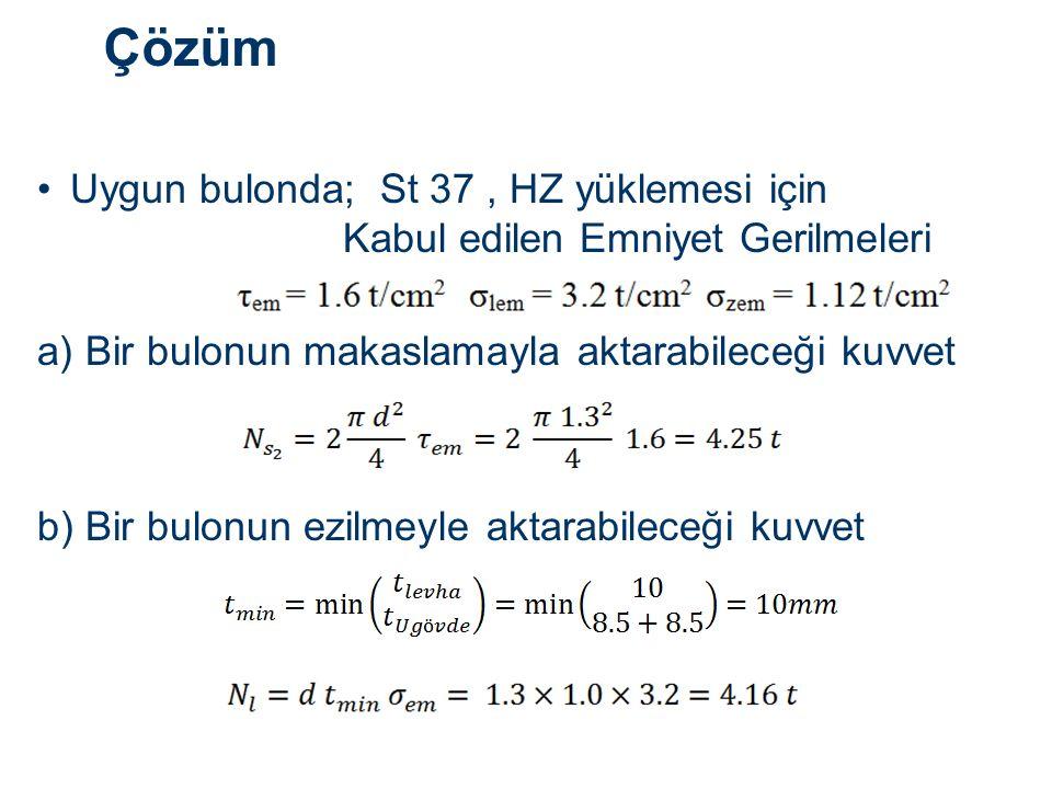 Çözüm Uygun bulonda; St 37, HZ yüklemesi için Kabul edilen Emniyet Gerilmeleri a) Bir bulonun makaslamayla aktarabileceği kuvvet b) Bir bulonun ezilmeyle aktarabileceği kuvvet