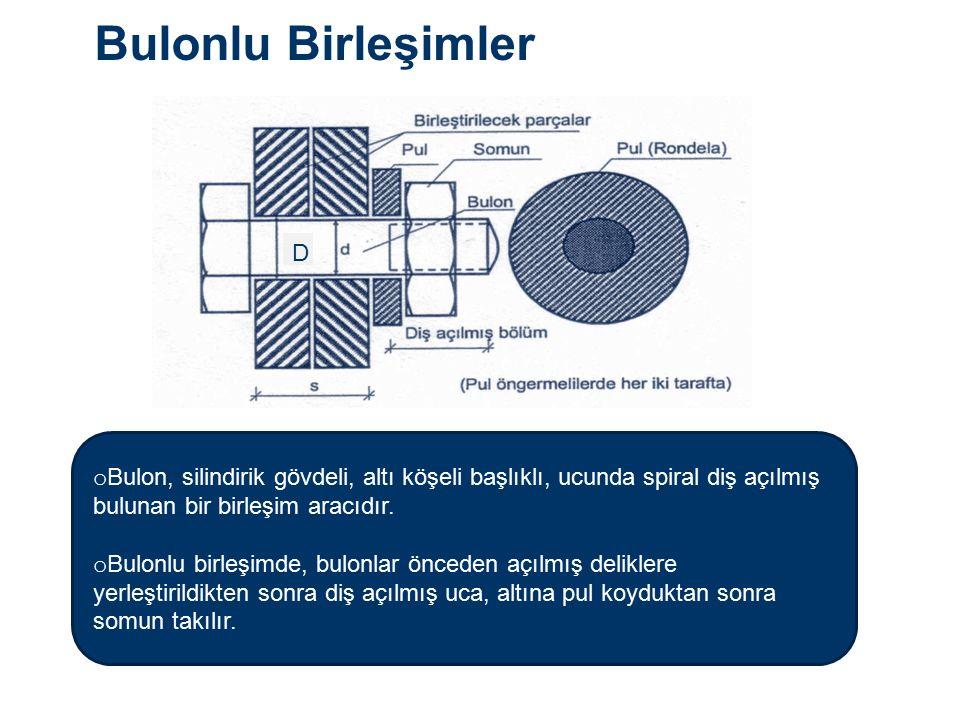 Bulonlu Birleşimler D o Bulon, silindirik gövdeli, altı köşeli başlıklı, ucunda spiral diş açılmış bulunan bir birleşim aracıdır.
