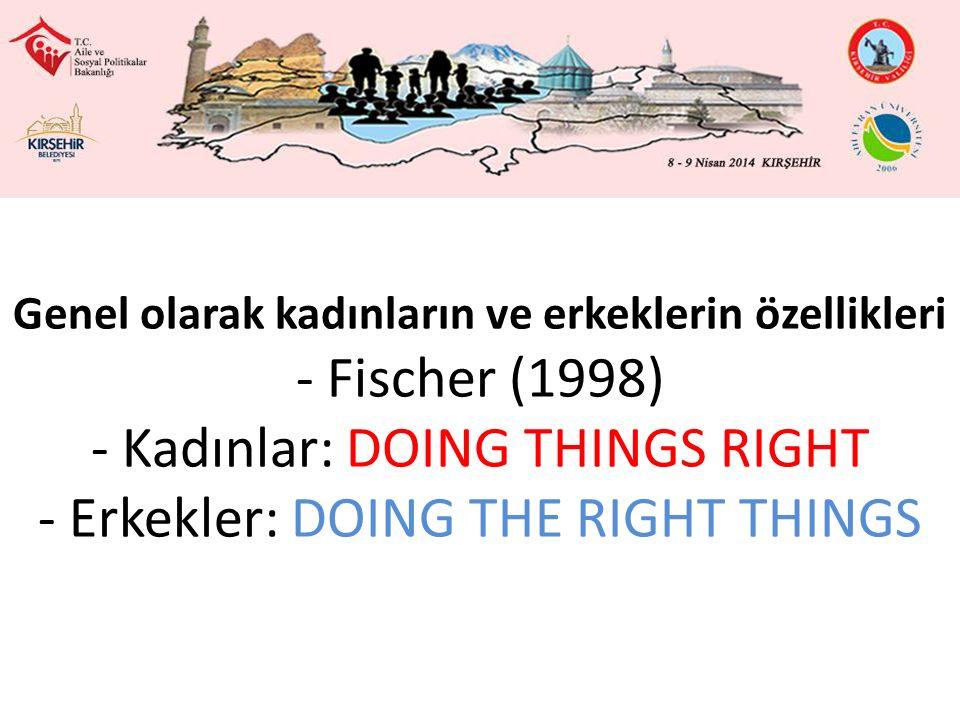 Genel olarak kadınların ve erkeklerin özellikleri - Fischer (1998) - Kadınlar: DOING THINGS RIGHT - Erkekler: DOING THE RIGHT THINGS