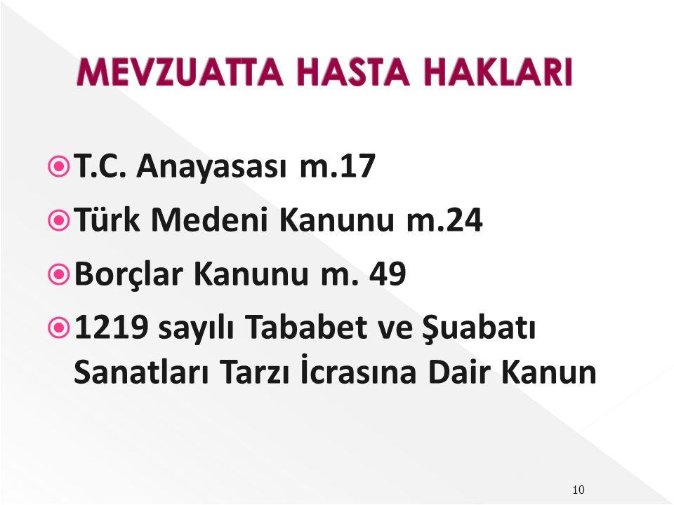  T.C. Anayasası m.17  Türk Medeni Kanunu m.24  Borçlar Kanunu m. 49  1219 sayılı Tababet ve Şuabatı Sanatları Tarzı İcrasına Dair Kanun 10