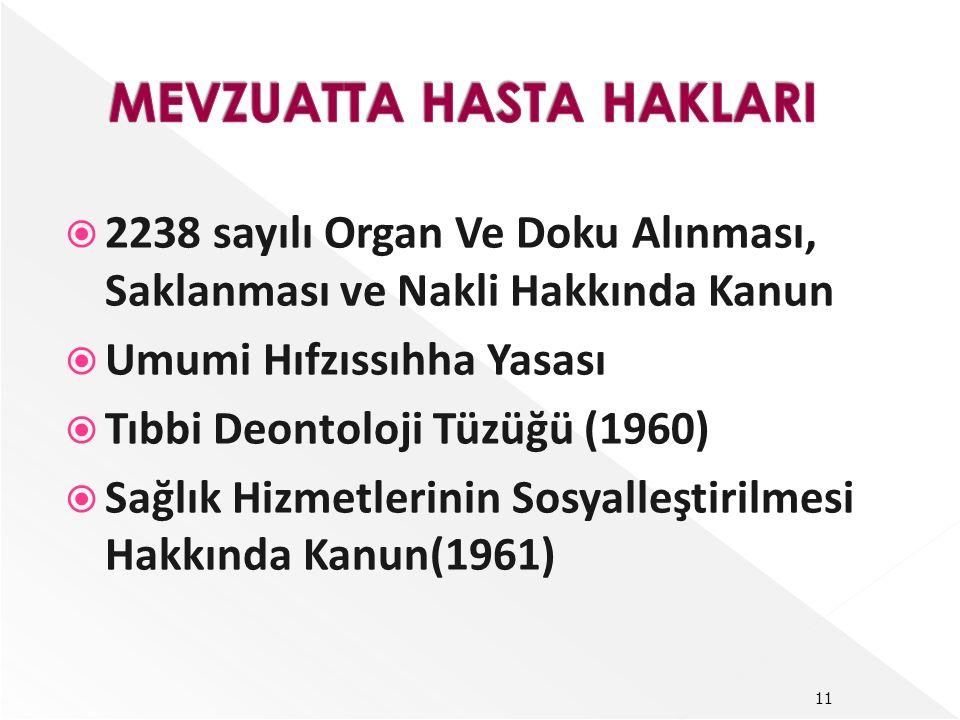  2238 sayılı Organ Ve Doku Alınması, Saklanması ve Nakli Hakkında Kanun  Umumi Hıfzıssıhha Yasası  Tıbbi Deontoloji Tüzüğü (1960)  Sağlık Hizmetlerinin Sosyalleştirilmesi Hakkında Kanun(1961) 11