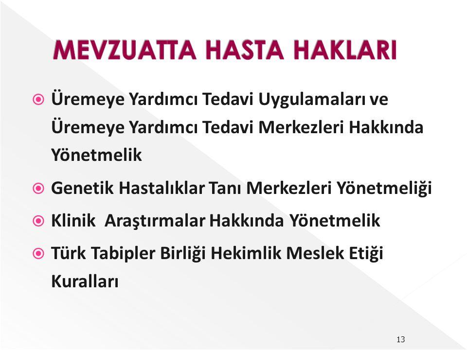  Üremeye Yardımcı Tedavi Uygulamaları ve Üremeye Yardımcı Tedavi Merkezleri Hakkında Yönetmelik  Genetik Hastalıklar Tanı Merkezleri Yönetmeliği  Klinik Araştırmalar Hakkında Yönetmelik  Türk Tabipler Birliği Hekimlik Meslek Etiği Kuralları 13