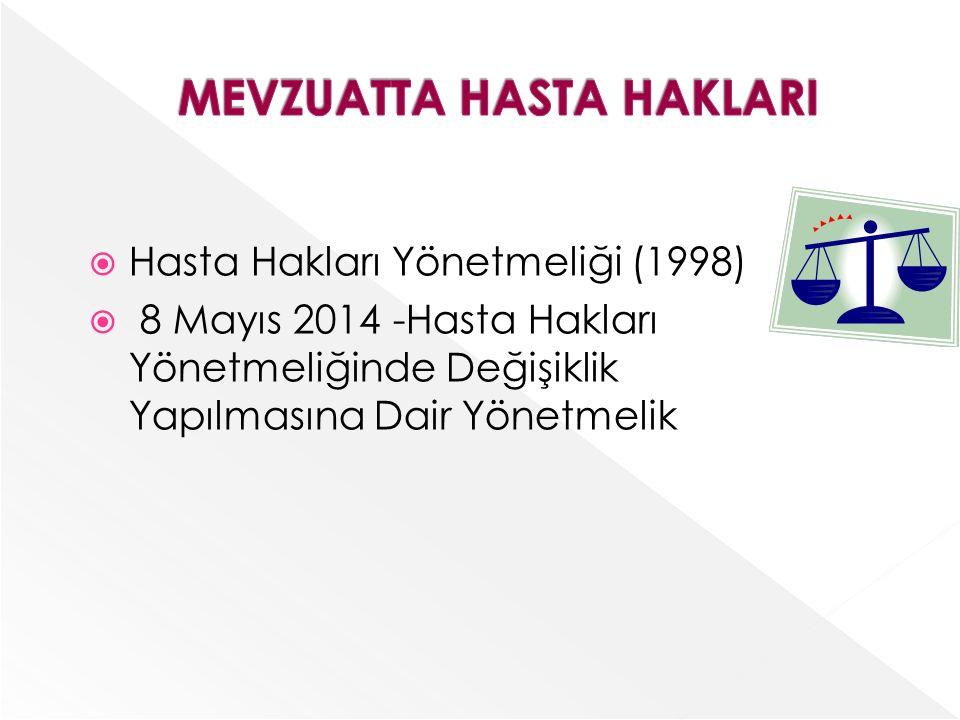  Hasta Hakları Yönetmeliği (1998)  8 Mayıs 2014 -Hasta Hakları Yönetmeliğinde Değişiklik Yapılmasına Dair Yönetmelik