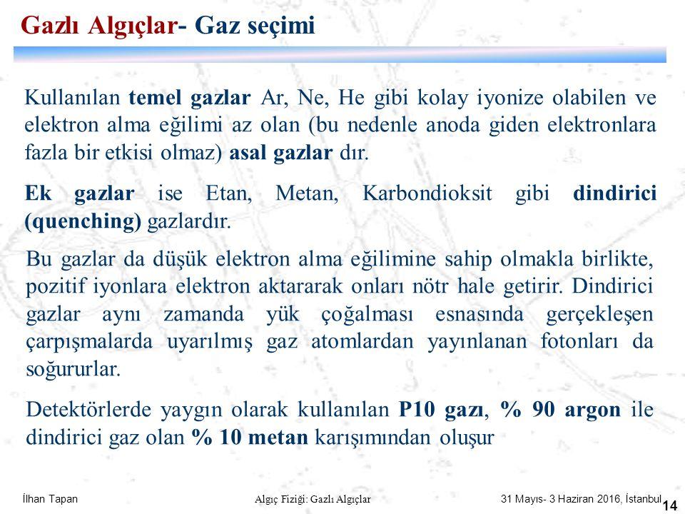 İlhan Tapan Algıç Fiziği: Gazlı Algıçlar 31 Mayıs- 3 Haziran 2016, İstanbul 14 Kullanılan temel gazlar Ar, Ne, He gibi kolay iyonize olabilen ve elekt