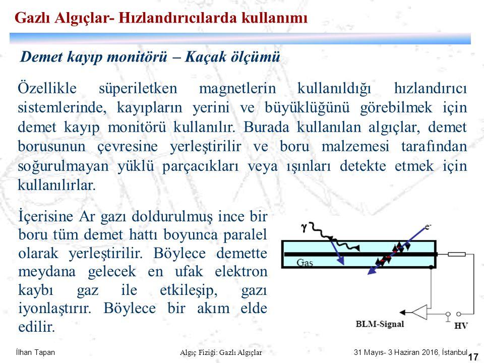 İlhan Tapan Algıç Fiziği: Gazlı Algıçlar 31 Mayıs- 3 Haziran 2016, İstanbul 17 Demet kayıp monitörü – Kaçak ölçümü Özellikle süperiletken magnetlerin