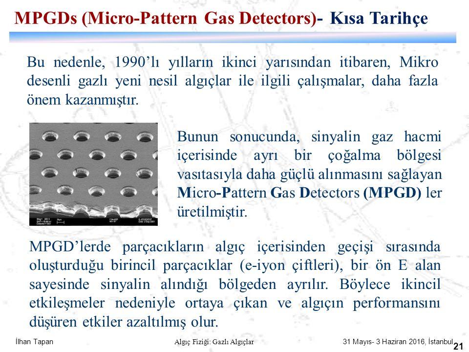 İlhan Tapan Algıç Fiziği: Gazlı Algıçlar 31 Mayıs- 3 Haziran 2016, İstanbul 21 Bu nedenle, 1990'lı yılların ikinci yarısından itibaren, Mikro desenli