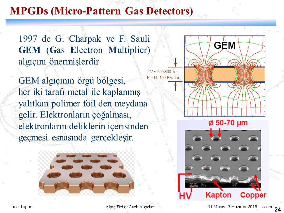 İlhan Tapan Algıç Fiziği: Gazlı Algıçlar 31 Mayıs- 3 Haziran 2016, İstanbul 24 1997 de G. Charpak ve F. Sauli GEM (Gas Electron Multiplier) algıçını ö