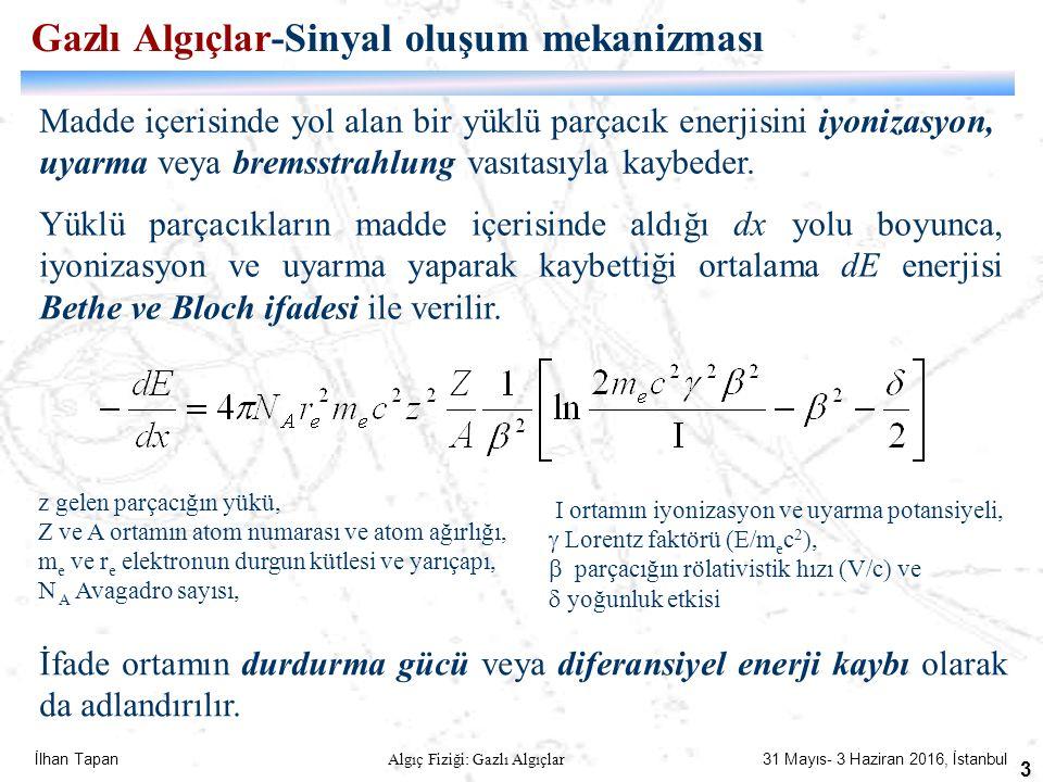 İlhan Tapan Algıç Fiziği: Gazlı Algıçlar 31 Mayıs- 3 Haziran 2016, İstanbul 3 Madde içerisinde yol alan bir yüklü parçacık enerjisini iyonizasyon, uya