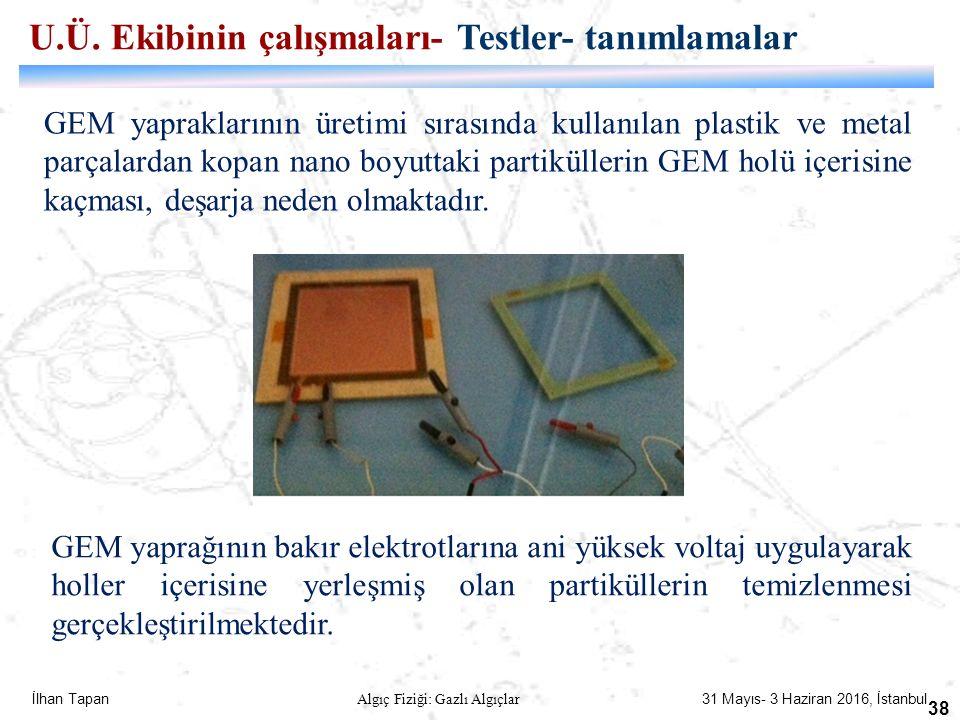 İlhan Tapan Algıç Fiziği: Gazlı Algıçlar 31 Mayıs- 3 Haziran 2016, İstanbul 38 GEM yapraklarının üretimi sırasında kullanılan plastik ve metal parçala