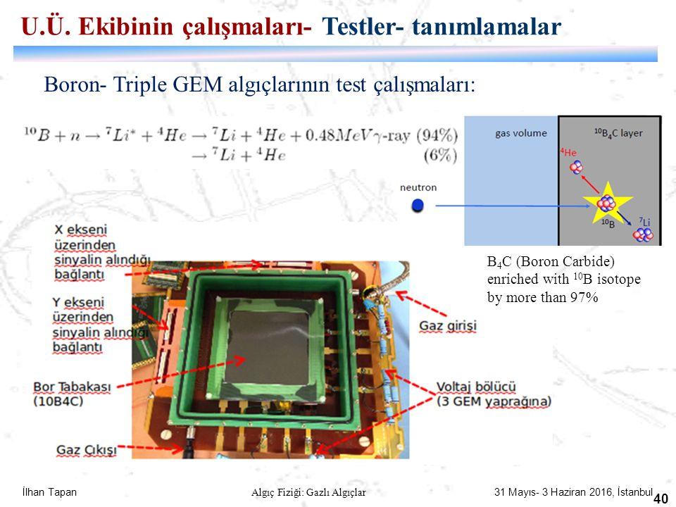 İlhan Tapan Algıç Fiziği: Gazlı Algıçlar 31 Mayıs- 3 Haziran 2016, İstanbul 40 Boron- Triple GEM algıçlarının test çalışmaları: U.Ü. Ekibinin çalışmal