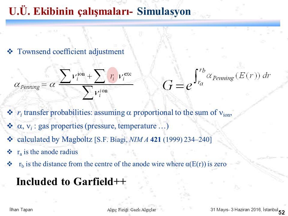 İlhan Tapan Algıç Fiziği: Gazlı Algıçlar 31 Mayıs- 3 Haziran 2016, İstanbul 52 /2 1 Included to Garfield++ U.Ü. Ekibinin çalışmaları- Simulasyon