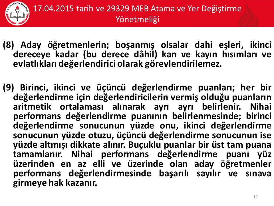 17.04.2015 tarih ve 29329 MEB Atama ve Yer Değiştirme Yönetmeliği (8) Aday öğretmenlerin; boşanmış olsalar dahi eşleri, ikinci dereceye kadar (bu dere