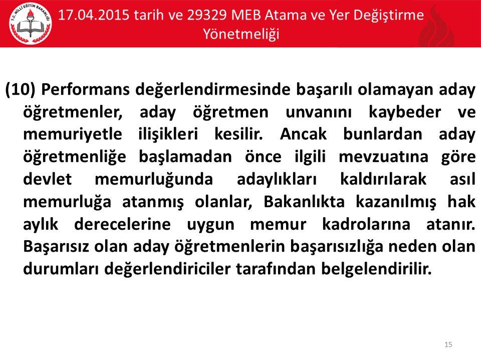 17.04.2015 tarih ve 29329 MEB Atama ve Yer Değiştirme Yönetmeliği (10) Performans değerlendirmesinde başarılı olamayan aday öğretmenler, aday öğretmen