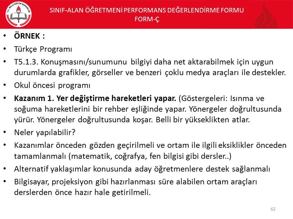 ÖRNEK : Türkçe Programı T5.1.3. Konuşmasını/sunumunu bilgiyi daha net aktarabilmek için uygun durumlarda grafikler, görseller ve benzeri çoklu medya a