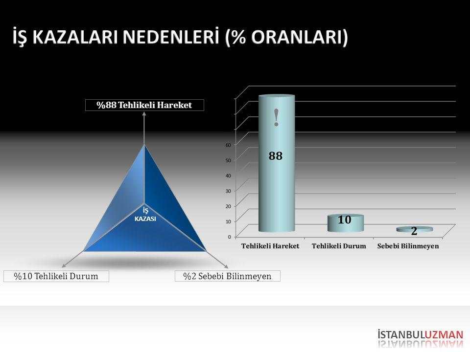%10 Tehlikeli Durum %2 Sebebi Bilinmeyen %88 Tehlikeli Hareket İŞ KAZASI