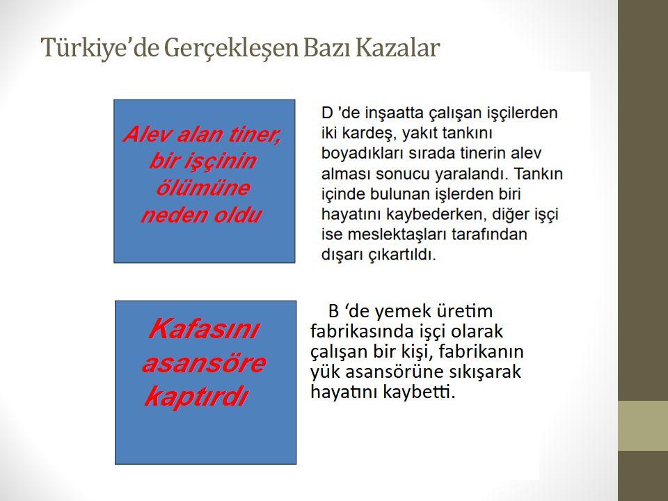 Türkiye'de Gerçekleşen Bazı Kazalar