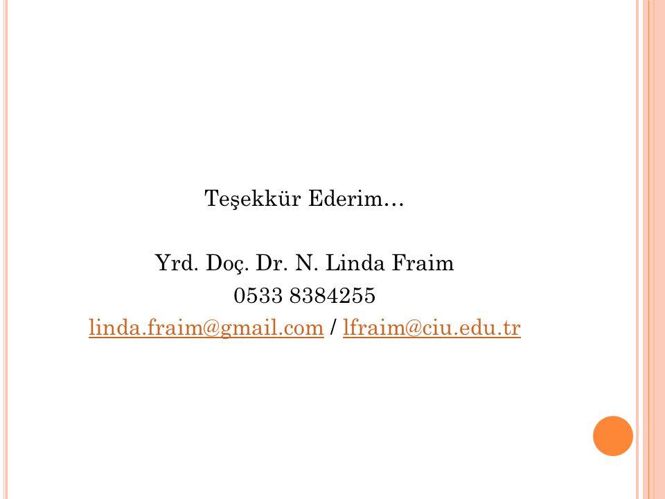 Teşekkür Ederim… Yrd. Doç. Dr. N. Linda Fraim 0533 8384255 linda.fraim@gmail.comlinda.fraim@gmail.com / lfraim@ciu.edu.trlfraim@ciu.edu.tr