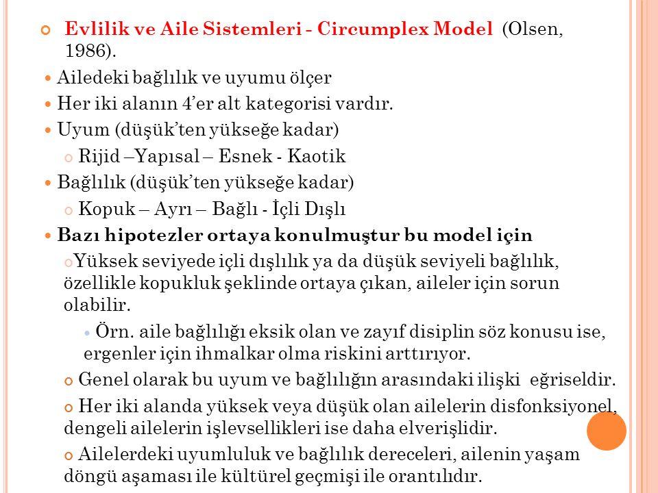 Evlilik ve Aile Sistemleri - Circumplex Model (Olsen, 1986). Ailedeki bağlılık ve uyumu ölçer Her iki alanın 4'er alt kategorisi vardır. Uyum (düşük't